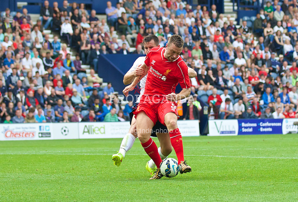PRESTON, ENGLAND - Saturday, July 19, 2014: Liverpool's Rickie Lambert in action against Preston North End during a preseason friendly match at Deepdale Stadium. (Pic by David Rawcliffe/Propaganda)