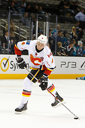 Feb 8, 2012; San Jose, CA, USA; Calgary Flames defenseman Jay Bouwmeester (4) warms up before the game against the San Jose Sharks at HP Pavilion. Calgary defeated San Jose 4-3. Mandatory Credit: Jason O. Watson-US PRESSWIRE