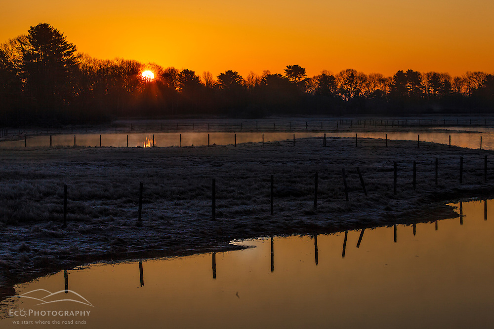 Sunrise over a tidal marsh in Rye, New Hampshire.