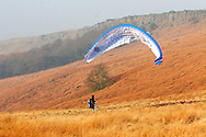 Paraglider landing underneath  Stanage Edge in Derbyshire ..., Travel, lifestyle