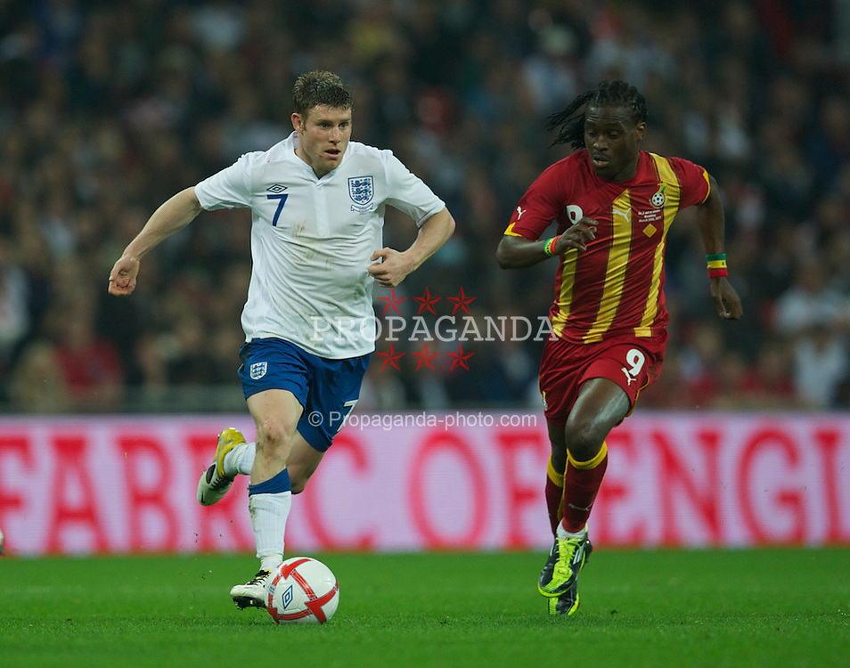 LONDON, ENGLAND - Tuesday, March 29, 2011: England's James Milner in action against Ghana during the international friendly match at Wembley Stadium. (Photo by David Rawcliffe/Propaganda)