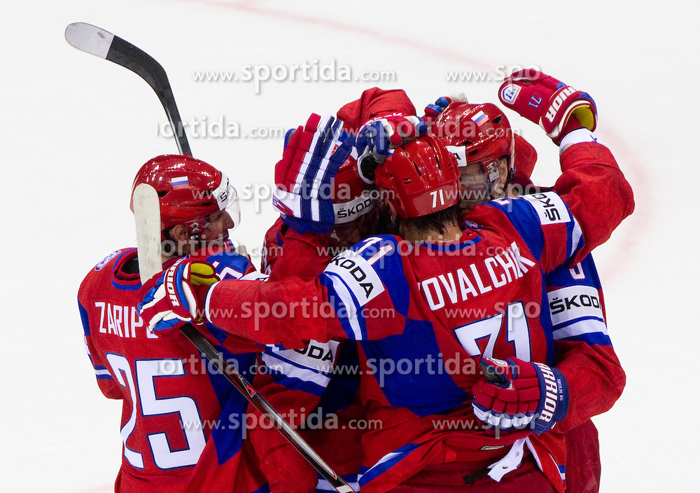 Danis Zaripov of Russia and other players of Russia celebrate during ice-hockey match between Russia and Slovakia of Group A of IIHF 2011 World Championship Slovakia, on May 3, 2011 in Orange Arena, Bratislava, Slovakia. (Photo By Vid Ponikvar / Sportida.com)
