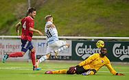 Jeppe Kjær (FC Helsingør) løfter bolden i nettet over Conrado da Costa Januario (B.93) og scorer til 2-0 under kampen i 2. Division mellem FC Helsingør og B.93 den 20. september 2019 på Helsingør Ny Stadion (Foto: Claus Birch).