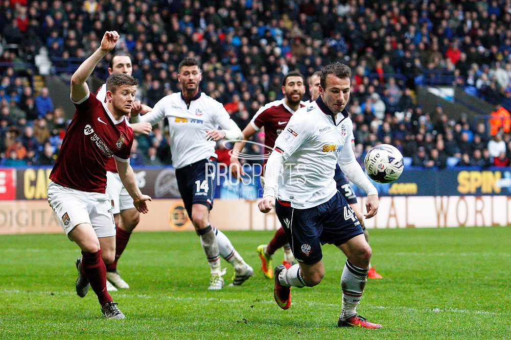 Bolton Wanderers Adam Le Fondre (45) lines up a shot during the EFL Sky Bet League 1 match between Bolton Wanderers and Northampton Town at the Macron Stadium, Bolton, England on 18 March 2017. Photo by Craig Galloway.