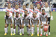 26 October 2014: Costa Rica's starters. Front row (left to right): Gloriana Villalobos (CRC), Diana Saenz (CRC), Daniela Cruz (CRC), Lixy Rodriguez (CRC), Shirley Cruz (CRC). Back row (left to right): Carol Sanchez (CRC), Raquel Rodriguez Cedeno (CRC), Cristin Granaldos (CRC), Wendy Acosta (CRC), Katherine Alvaredo (CRC), Dinnia Diaz (CRC). The United States Women's National Team played the Costa Rica Women's National Team at PPL Park in Chester, Pennsylvania in the 2014 CONCACAF Women's Championship championship game. By advancing to the final, both teams have qualified for next year's Women's World Cup in Canada. The United States won the game 6-0.