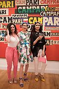 LUCY ELLEN, ANA DE JESUS, SAFREEN KHAN; ,  , Private view for the Art of Campari, The Estorick Collection,  Islington. London. 3 July 2018