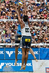 Ricardo Costa Santos of Brazil tries to block the shot at A1 Beach Volleyball Grand Slam tournament of Swatch FIVB World Tour 2010, bronze medal, on August 1, 2010 in Klagenfurt, Austria. (Photo by Matic Klansek Velej / Sportida)