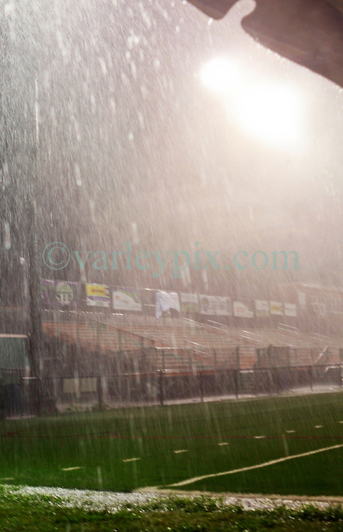 27 June 2015. New Orleans, Louisiana.<br /> National Premier Soccer League. NPSL. <br /> Jesters 1- Georgia Revolution 5.<br /> Thunder, lightning and torrential rain stop play as the New Orleans Jesters lose 1-5 to the Georgia Revolution at home in the Pan American Stadium. <br /> Photo©; Charlie Varley/varleypix.com