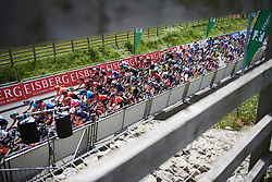 The peloton speed onto another lap at Stage 2 of 2019 OVO Women's Tour, a 62.5 km road race starting and finishing in the Kent Cyclopark in Gravesend, United Kingdom on June 11, 2019. Photo by Sean Robinson/velofocus.com