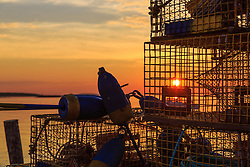 Lobster traps at sunrise in South Thomaston, Maine.