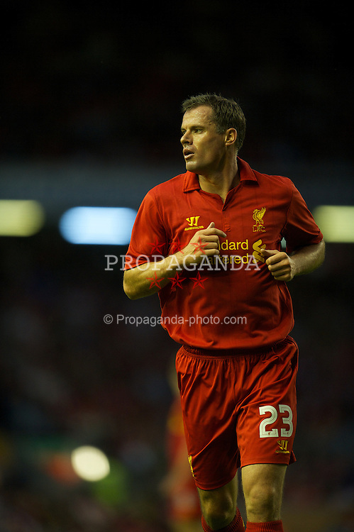 LIVERPOOL, ENGLAND - Thursday, August 30, 2012: Liverpool's Jamie Carragher in action against Heart of Midlothian during the UEFA Europa League Play-Off Round 2nd Leg match at Anfield. (Pic by David Rawcliffe/Propaganda)