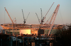 UK ENGLAND LONDON 28FEB06 - View of Wembley National Stadium construction site at Wembley, west London. The Wembley stadium reconstruction project, undertaken by Australian contractor Multiplex is running behind schedule and over-budget. The British Football Association has decided to relocate the 2006 FA cup to Cardiff amid fears that the project will not be completed on time...jre/Photo by Jiri Rezac..© Jiri Rezac 2006..Contact: +44 (0) 7050 110 417.Mobile:  +44 (0) 7801 337 683.Office:  +44 (0) 20 8968 9635..Email:   jiri@jirirezac.com.Web:    www.jirirezac.com..© All images Jiri Rezac 2006 - All rights reserved.