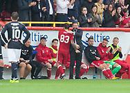 August 19th 2017, Pittodrie Stadium, Aberdeen, Scotland;  Scottish Premiership football, Aberdeen versus Dundee; Aberdeen boss Derek McInnes congratulates Stevie May as the striker is substituted after scoring twice in his side's 2-1 win over Dundee