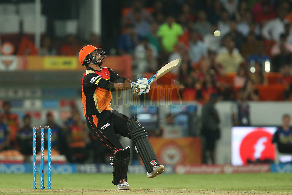 Deepak Hooda of Sunrisers Hyderabad pulls a delivery to the leg side during match 42 of the Vivo IPL 2016 (Indian Premier League) between the Sunrisers Hyderabad and the Delhi Daredevils held at the Rajiv Gandhi Intl. Cricket Stadium, Hyderabad on the 12th May 2016<br /> <br /> Photo by Shaun Roy / IPL/ SPORTZPICS