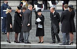 HM The Queen and Duke of Edinburgh speak to members of Lady Thatcher's family on the steps of St Paul's Cathedral. After Lady Thatcher's funeral, following her death last week, London, UK, Wednesday 17 April, 2013, Photo by: Andrew Parsons / i-Images