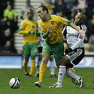 Derby - Tuesday October 28th, 2008: Jordan Stewart of Derby County and Lee Croft of Norwich City clash during the Coca Cola Championship match at Pride Park, Derby. (Pic by Michael Sedgwick/Focus Images)