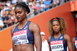 29-08-2015 CHN: IAAF World Championships Athletics day 7, Beijing<br /> Lenora Guion Firmin and Stella Akakpo of France in the Women's 4x100 Metres Relay heats Photo by Ronald Hoogendoorn / Sportida