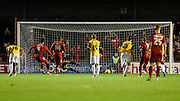 Crawley midfielder Simon Walton sends the goalkeeper the wrong way to score from the penalty spot and pull a goal back (1-2) during the Sky Bet League 2 match between Crawley Town and Northampton Town at the Checkatrade.com Stadium, Crawley, England on 24 November 2015. Photo by David Charbit.