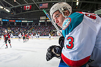 KELOWNA, CANADA - FEBRUARY 18: Reid Gardiner #23 of the Kelowna Rockets stands on the bench against the Prince George Cougars on February 18, 2017 at Prospera Place in Kelowna, British Columbia, Canada.  (Photo by Marissa Baecker/Shoot the Breeze)  *** Local Caption ***