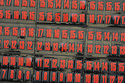 Detail of red numbers on the leaderboard during the World Golf Championship Cadillac Championship on the TPC Blue Monster Course at Doral Golf Resort And Spa on March 11, 2012 in Doral, Fla. ..©2012 Scott A. Miller..