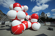 "Vienna. MuseumsQuartier (MQ Vienna) is celebrating its 10th year. ""The Art to Innovate"" - inflatable sculptures. ""Flatulenz"", 2011 by Franz Kupelwieser."