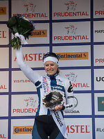 Finland's Lotta Lepisto of Cervelo Bigla Pro Cycling Team celebrates winning second place on the podium at Prudential RideLondon Classique 29/07/2017<br /> <br /> Photo: Tom Lovelock/Silverhub for Prudential RideLondon<br /> <br /> Prudential RideLondon is the world&rsquo;s greatest festival of cycling, involving 100,000+ cyclists &ndash; from Olympic champions to a free family fun ride - riding in events over closed roads in London and Surrey over the weekend of 28th to 30th July 2017. <br /> <br /> See www.PrudentialRideLondon.co.uk for more.<br /> <br /> For further information: media@londonmarathonevents.co.uk