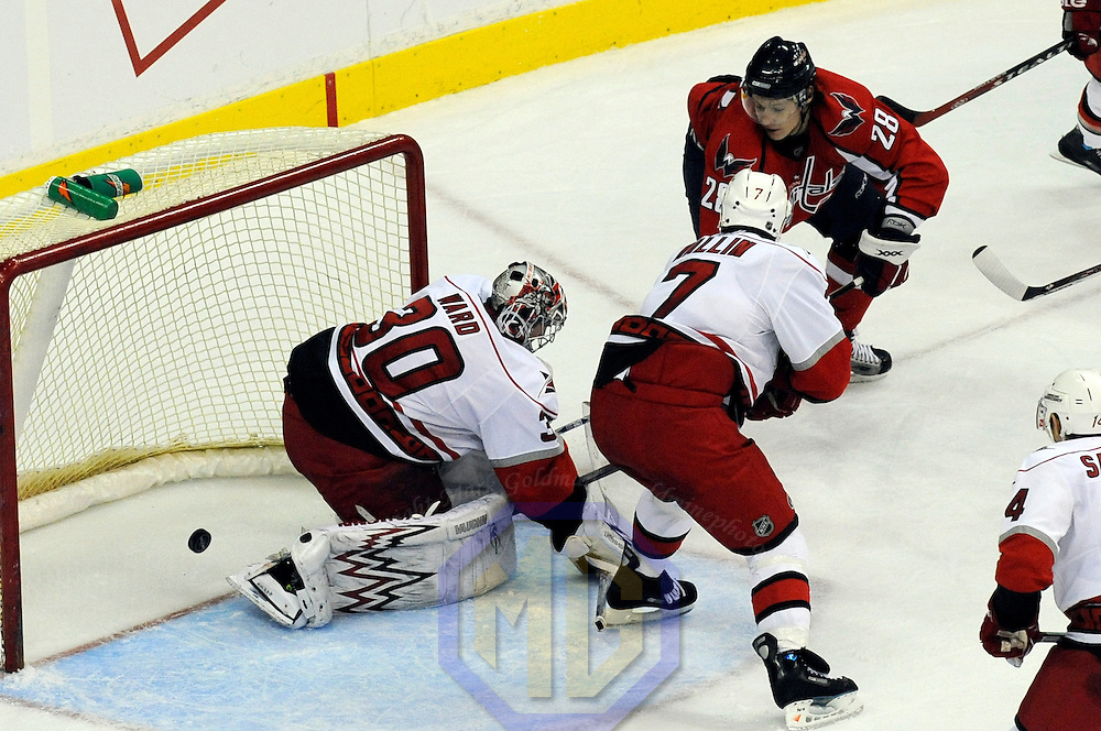 08 February 2008:  Washington Capitals left wing Alexander Semin (28) scores in the third period on an unassisted shot against Carolina Hurricanes goalie Cam Ward (30) at the Verizon Center in Washington, D.C.  The Hurricanes defeated the Capitals  2-1.