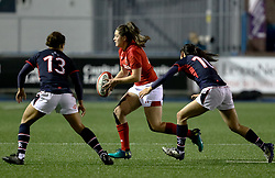 Alicia McComish of Wales Women under pressure from CHENG Lok-tung of Hong Kong<br /> <br /> Photographer Simon King/Replay Images<br /> <br /> Friendly - Wales Women v Hong Kong Women - Friday  16th November 2018 - Cardiff Arms Park - Cardiff<br /> <br /> World Copyright © Replay Images . All rights reserved. info@replayimages.co.uk - http://replayimages.co.uk