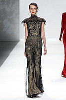 Erjona Ala walks down runway for F2012 Tadashi Shoji's collection in Mercedes Benz fashion week in New York on Feb 9, 2012 NYC