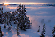 Cascade Sunrise, as experienced from the top of Alpental in the central Washington Cascades