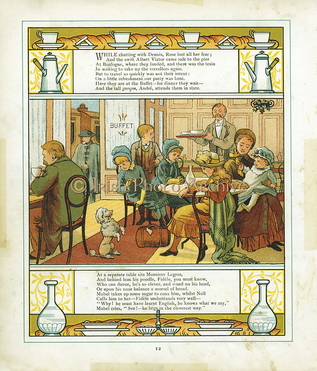 English family taking a meal in the station buffet at Boulogne, France, before continuing their journey. Colour illustration 1886