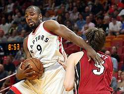 March 11, 2017 - Miami, FL, USA - The Toronto Raptors Serge Ibaka (9) muscles by the Miami Heat's Luke Babbitt at the AmericanAirlines Arena in Miami on Saturday, March 11, 2017. (Credit Image: © Charles Trainor Jr/TNS via ZUMA Wire)