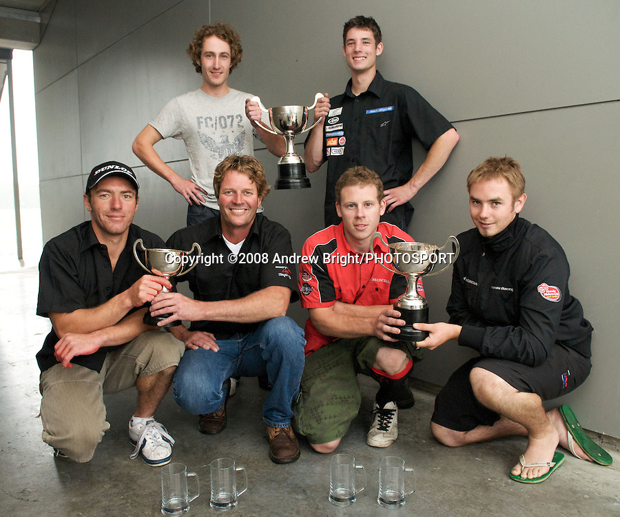 Podium finishers in the B.A.D.D. 3 hour endurance motorcycle race at Taupo Motorsport Park. Back L-R: Jason McCamish and Glen Skachill 1st. Front L-R: Jamie Rajek and Fred Merkel 3rd, Jeremy Holmes and Hayden Fitzgerald 2nd. Monday 29th December 2008. Photo: Andrew Bright/PHOTOSPORT