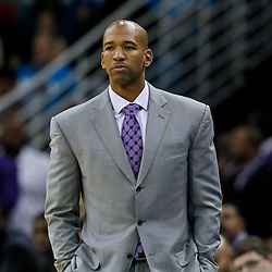 December 28, 2011; New Orleans, LA, USA; New Orleans Hornets head coach Monty Williams during the second quarter of a game against the Boston Celtics at the New Orleans Arena. The Hornets defeated the Celtics 97-78.   Mandatory Credit: Derick E. Hingle-US PRESSWIRE