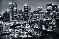 Foggy Sydney Skyline from Harbour Bridge (monochrome)