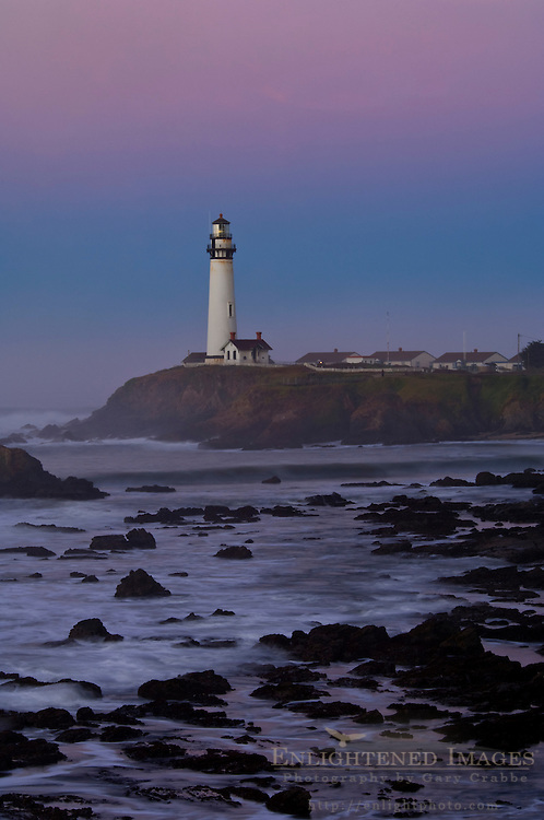 Waves and coastal rocks near Pigeon Point Lighthouse at dawn, San Mateo County coast, California