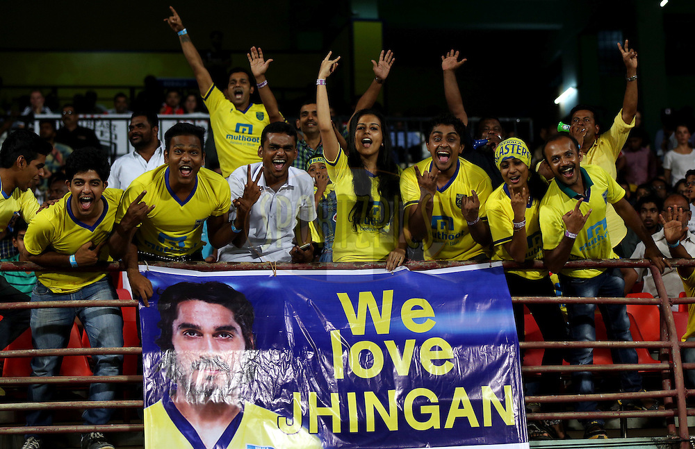Fan's enjoy's during match 49 of the Hero Indian Super League between Kerala Blasters FC and North East United FC held at the Jawaharlal Nehru Stadium, Kochi, India on the 4th December 2014.<br /> <br /> Photo by:  Sandeep Shetty/ ISL/ SPORTZPICS