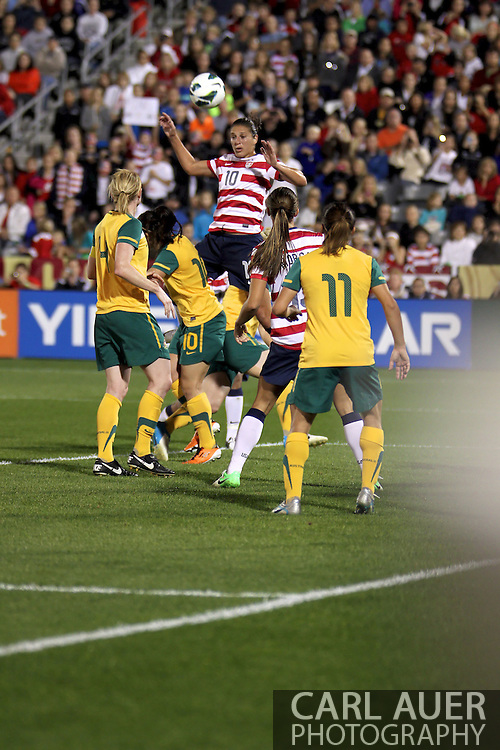 September 19, 2012 Commerce City, CO.  USA m Carli Lloyd (10) elevates for a header during the Soccer Match between the USA Women's National Team and the Women's Australian team at Dick's Sporting Goods Park in Commerce City, Colorado