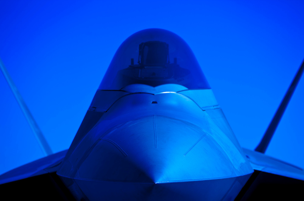 F-22 Raptor nose.  Dobbins Air Reserve Base, Marietta, Georgia.  <br /> <br /> Created by aviation photographer John Slemp of Aerographs Aviation Photography. Clients include Goodyear Aviation Tires, Phillips 66 Aviation Fuels, Smithsonian Air & Space magazine, and The Lindbergh Foundation.  Specialising in high end commercial aviation photography and the supply of aviation stock photography for advertising, corporate, and editorial use.
