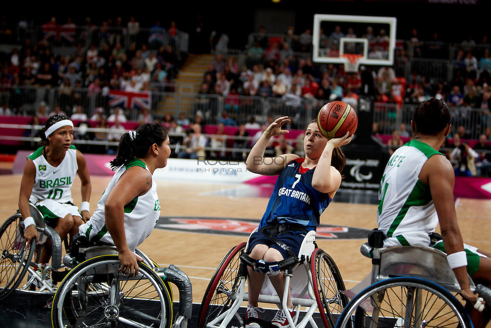 Helen Freeman of the Gerat Britain women's Wheelchair Basketball team plays at the Paralympic Basketball Arena in their 42-37 win over Brazil on day 3 of the London 2012 Paralympic Games. 1st September 2012.