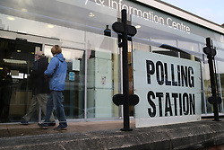 © Licensed to London News Pictures. 20/10/2016. Birstall, UK. The Polling station at Birstall Library, just meters from where MP Jo Cox was tragically murdered, opens in the town of Birstall, West Yorkshire, on voting day in the Batley and Spen by-election. The by-election was triggered after the tragic murder of Labour MP Jo Cox in the town of Birstall. Labour candidate Tracy Brabin is expected to win the seat uncontested by the Conservatives and Liberal Democrats. Photo credit : Ian Hinchliffe/LNP