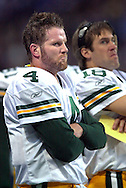 (2002)-Green Bay's Brett Favre on the sidelines with Doug Pederson after Favre's pass intended for Ahman Green was intercepted by St. Louis's Tommy Polley in the 4th quarter of a NFC Playoff game.