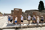 tourists at Pompeii the Roman city buried in lava near Naples in La Campania region southern Italy