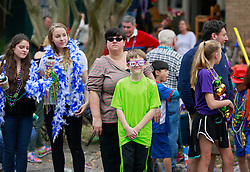 15 Feb 2015. New Orleans, Louisiana.<br /> Mardi Gras. Niki and Connor at The Krewe of Thoth.<br /> Photo; Charlie Varley/varleypix.com