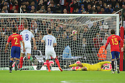 England attacker Adam Lallana (11) scoring penalty 1-0 during the Friendly match between England and Spain at Wembley Stadium, London, England on 15 November 2016. Photo by Matthew Redman.