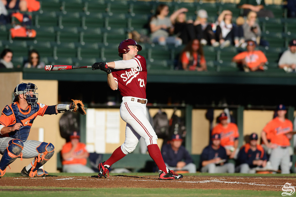 Quinn Brodey #22. Stanford Men's Baseball v. Cal State Fullerton 02/20/16. Photo by Rahim Ullah<br />