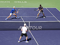 March 16, 2019 - Indian Wells, CA, U.S. - INDIAN WELLS, CA - MARCH 16: Novak Djokovic (SRB) teamed with Pete Sampras (USA) in an exhibition doubles match against John McEnroe (USA) and Tommy Haas (GER) to entertain disappointed fans after Rafael Nadal (ESP) pulled out of the BNP Paribas Open with a sore knee on March 16, 2019, at Indian Wells Tennis Garden in Indian Wells, CA. (Photo by Cynthia Lum/Icon Sportswire) (Credit Image: © Cynthia Lum/Icon SMI via ZUMA Press)