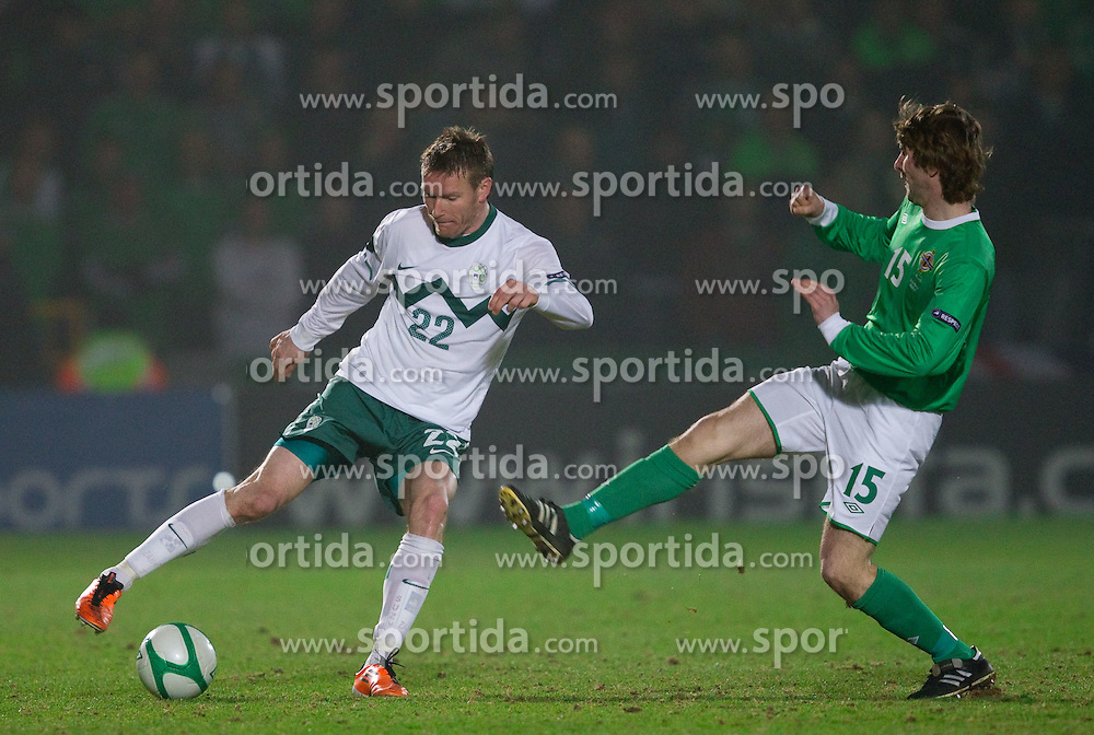 Matej Mavric Rozic of Slovenia vs Pat McCourt of Northern Ireland during EURO 2012 Quaifications game between National teams of Slovenia and Northern Ireland, on March 29, 2011, in Windsor Park Stadium, Belfast, Northern Ireland, United Kingdom. (Photo by Vid Ponikvar / Sportida)