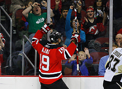 Dec 10, 2008; Newark, NJ, USA; New Jersey Devils center Travis Zajac (19) celebrates his goal during the second period at the Prudential Center.