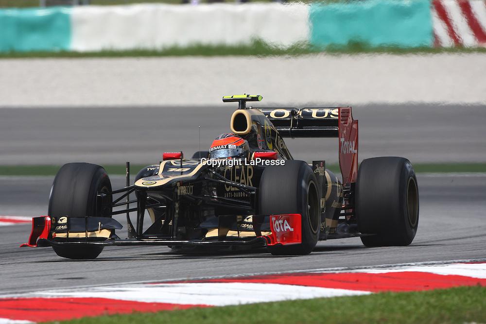 &copy; Photo4 / LaPresse<br /> 23/3/2012 Sepang<br /> Malaysian Grand Prix, Sepang 2012<br /> In the pic: Romain Grosjean (SUI) Lotus F1 Team E20